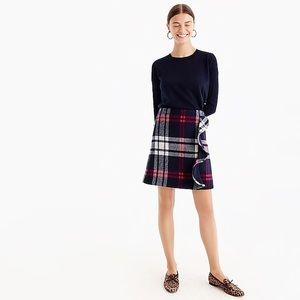 J. Crew Plaid Ruffle Mini Skirt Doubleserge wool